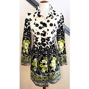 🎉Nanette Lepore Velvet Black White Floral Coat🎉